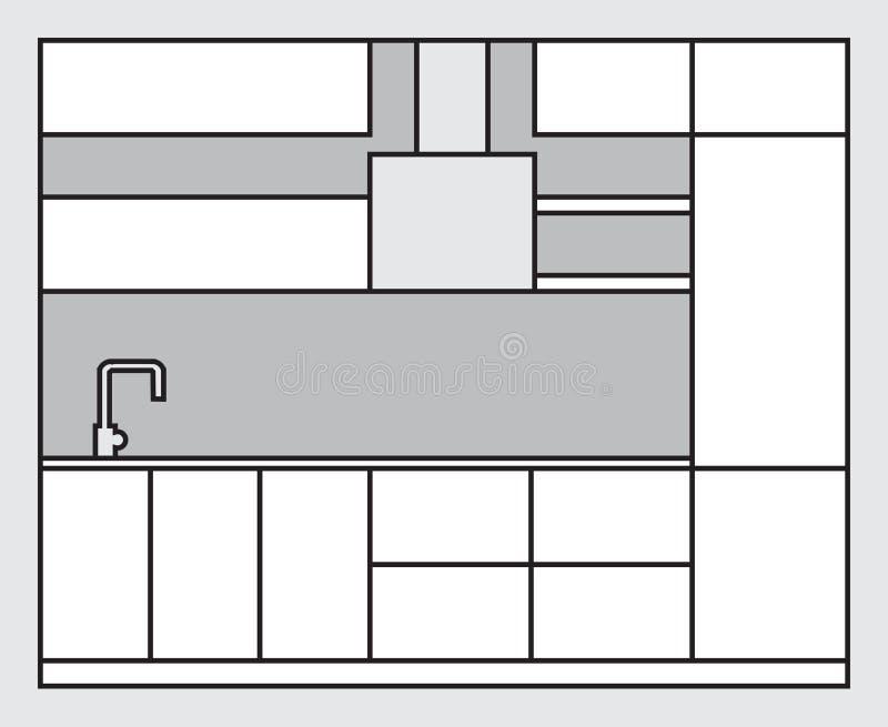 Plan del interior de la cocina Proyecto de los muebles modernos de la cocina hechos en la línea estilo del arte ilustración del vector