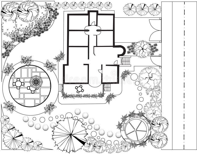 Plan del jardín blanco y negro stock de ilustración