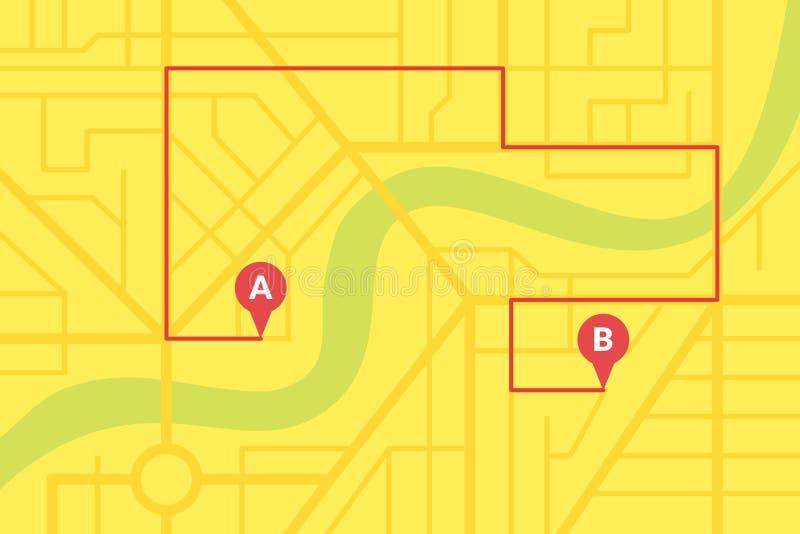 Plan del mapa de calle de la ciudad con los pernos de GPS y la ruta de la navegación de A a los marcadores del punto de B Ejemplo ilustración del vector