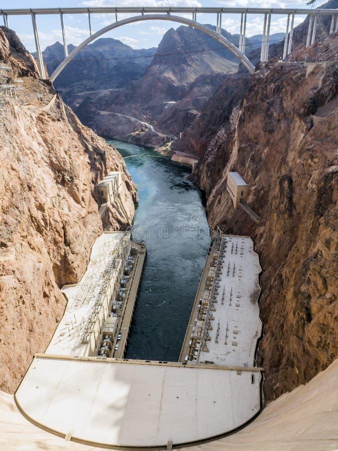 Plan del poder de la Presa Hoover, puente rio abajo - Arizona, AZ foto de archivo libre de regalías