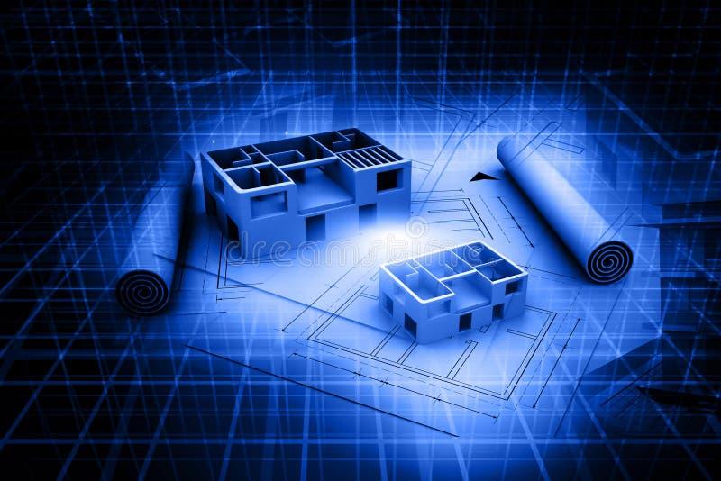 plan del proyecto original de la casa de la arquitectura 3d imagenes de archivo