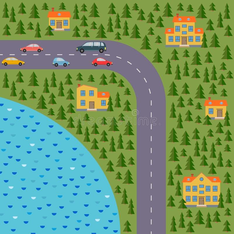 Plan del pueblo Ajardine con el camino, el bosque conífero, el lago, los coches y las casas libre illustration
