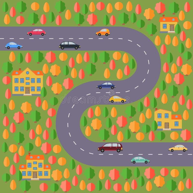 Plan del pueblo Ajardine con el camino, el bosque del otoño, los coches y las casas ilustración del vector