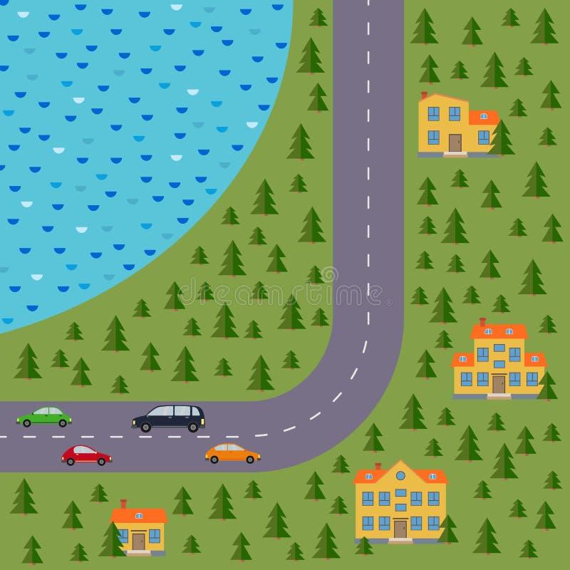 Plan del pueblo Ajardine con el camino, el bosque del pino, el lago, los coches y las casas stock de ilustración