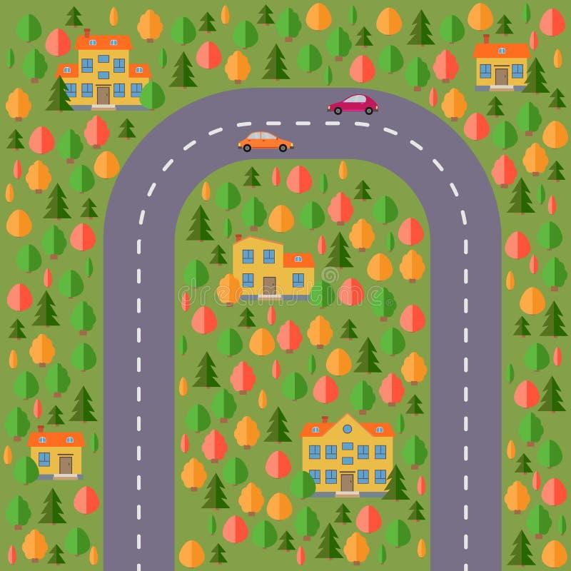 Plan del pueblo Ajardine con el camino, el bosque, dos coches y casas libre illustration