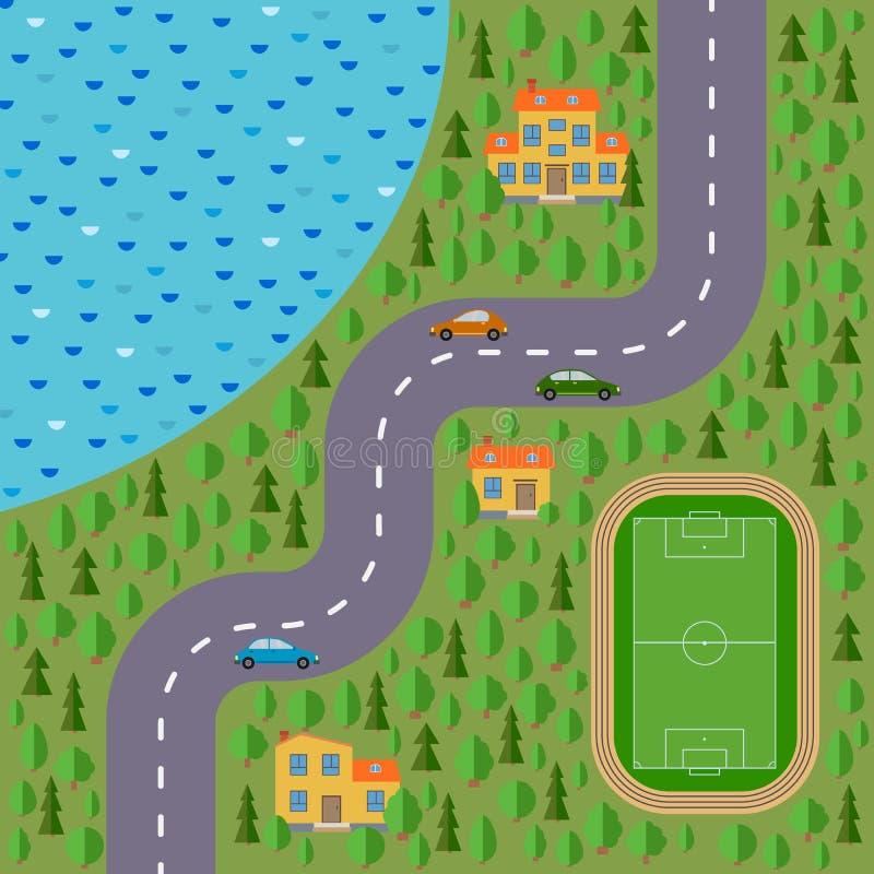 Plan del pueblo Ajardine con el camino, el bosque, el lago, el estadio, los coches y las casas libre illustration