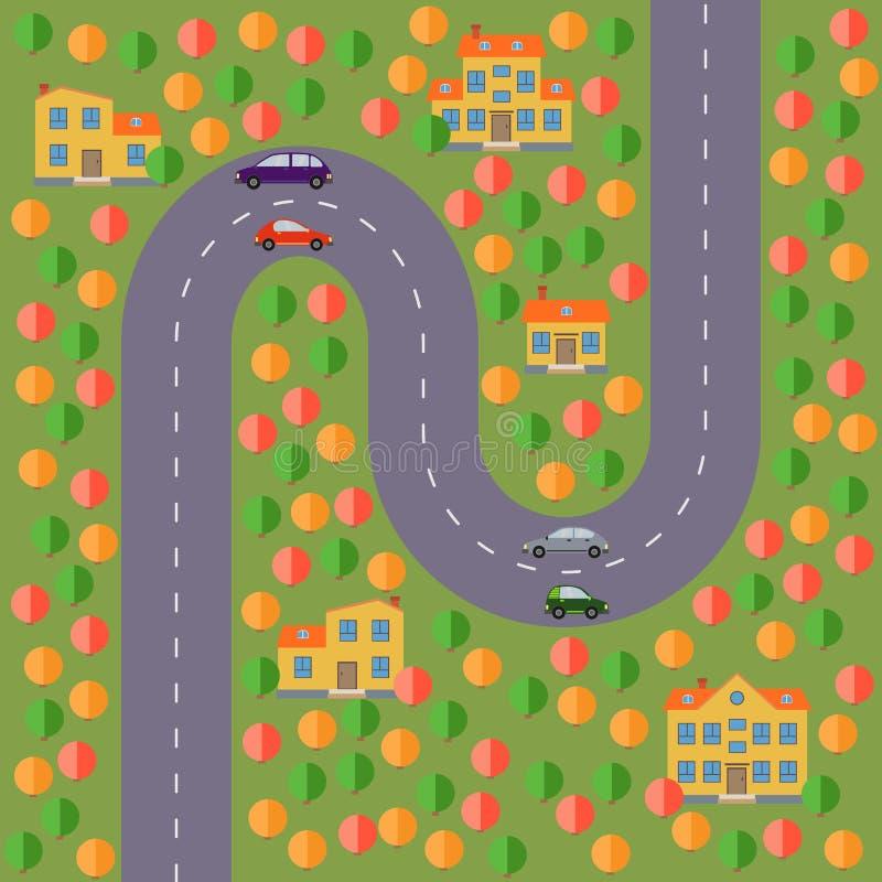 Plan del pueblo Ajardine con el camino, el bosque, el lago, los coches y cinco casas stock de ilustración
