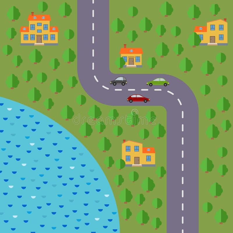 Plan del pueblo Ajardine con el camino, el bosque, el lago, los coches y las casas stock de ilustración