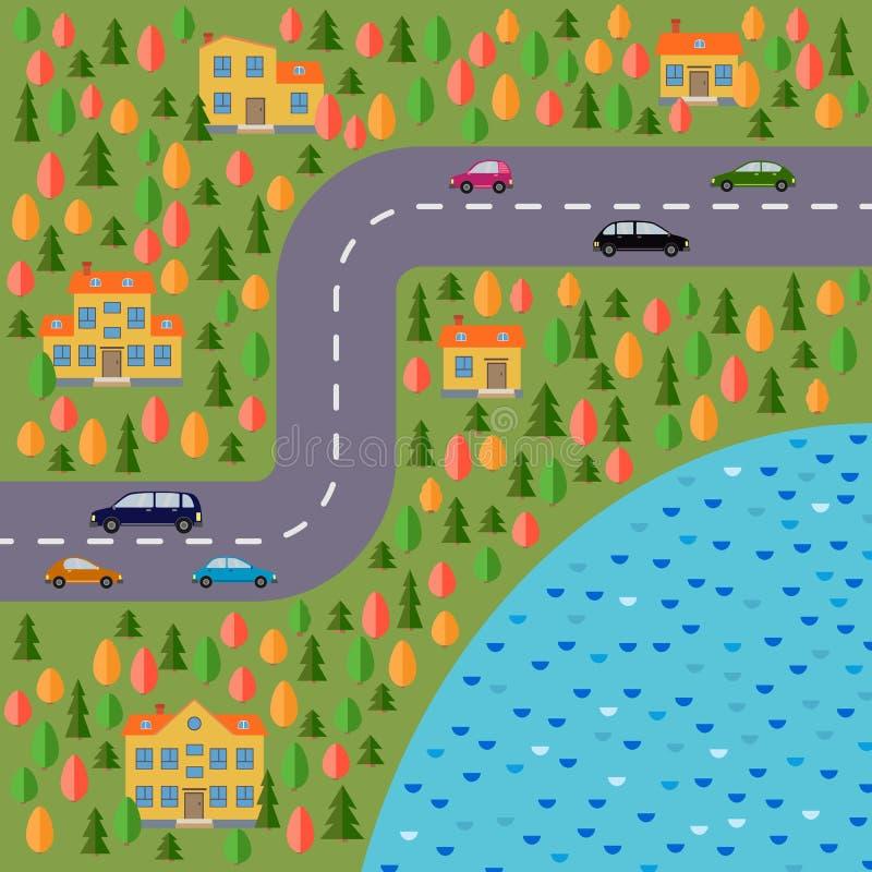 Plan del pueblo Ajardine con el camino, el bosque, el lago, los coches y las casas ilustración del vector