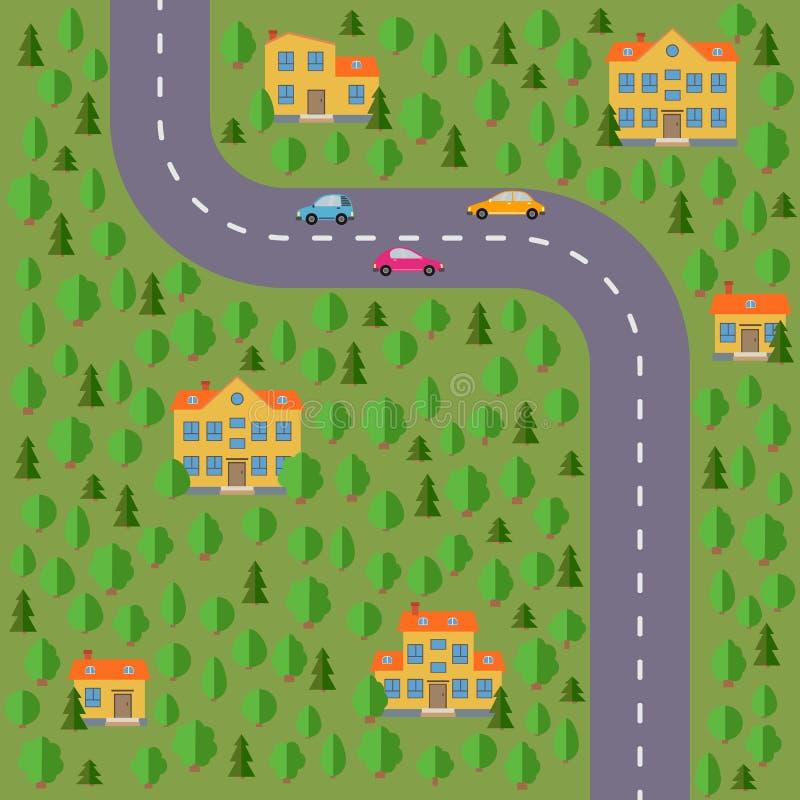 Plan del pueblo Ajardine con el camino, el bosque, el lago, los coches y las casas libre illustration
