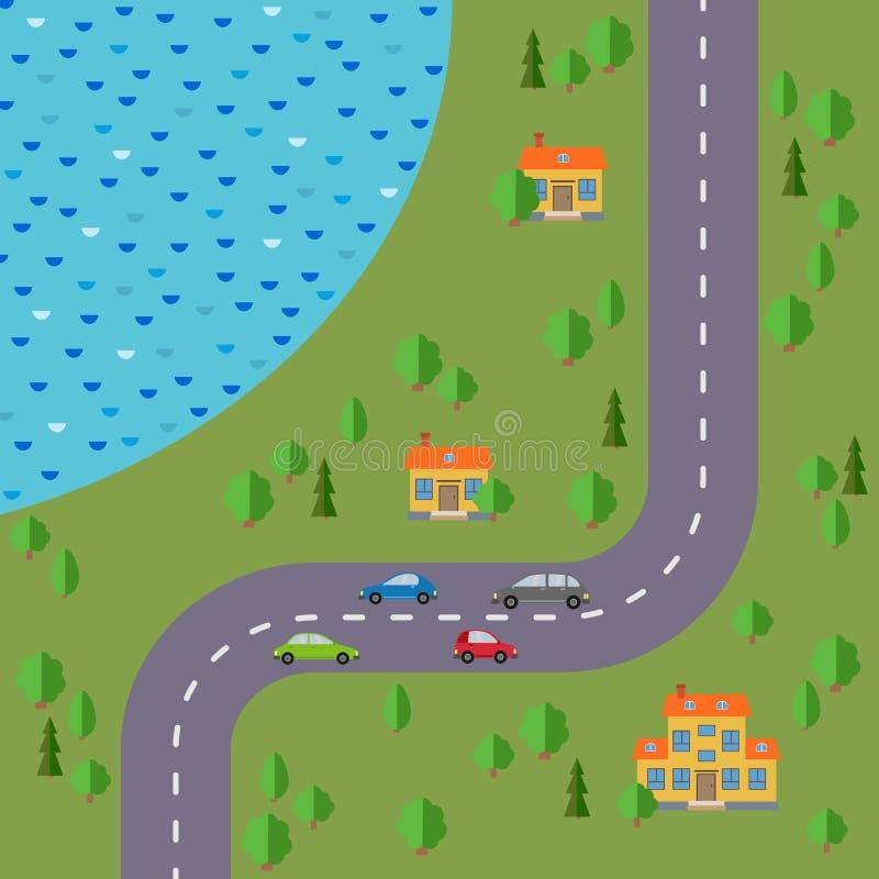 Plan del pueblo Ajardine con el camino, el bosque, el lago, los coches y tres casas stock de ilustración