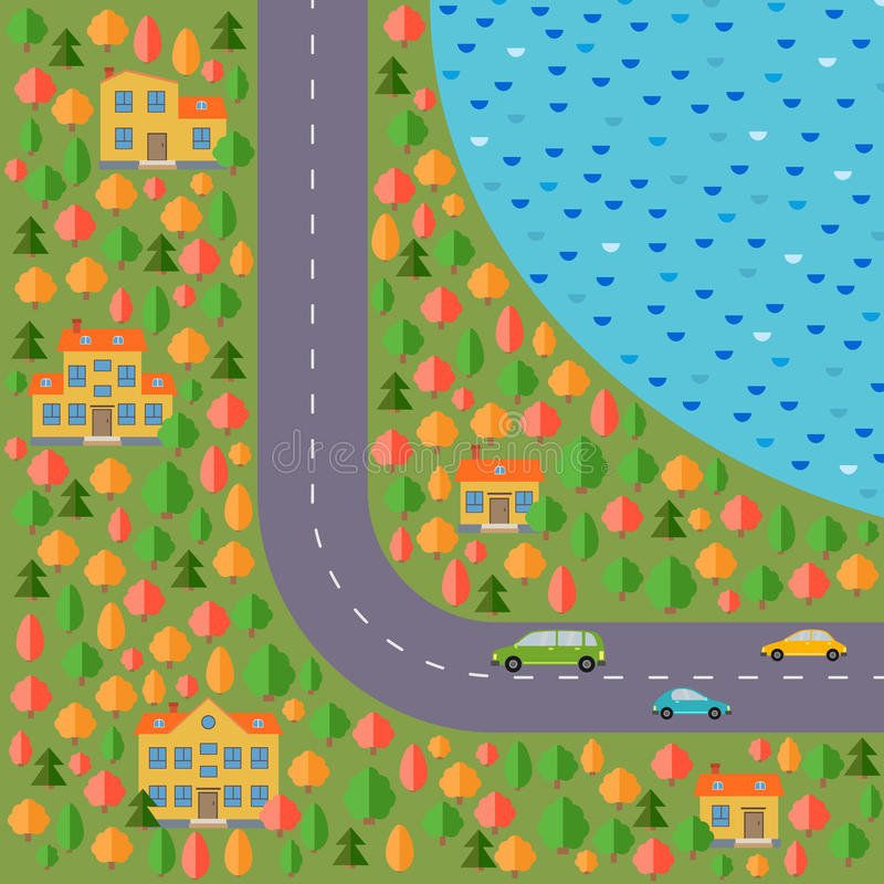 Plan del pueblo Ajardine con el camino, el bosque, el lago, tres coches y cinco casas stock de ilustración