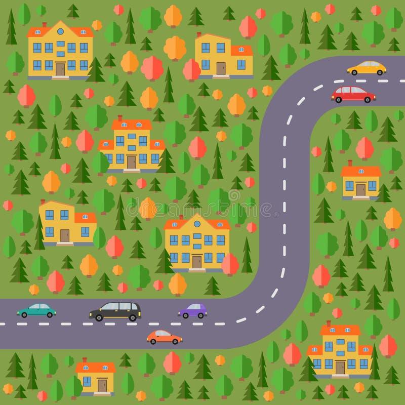 Plan del pueblo Ajardine con el camino, el bosque, los coches y las casas amarillas libre illustration