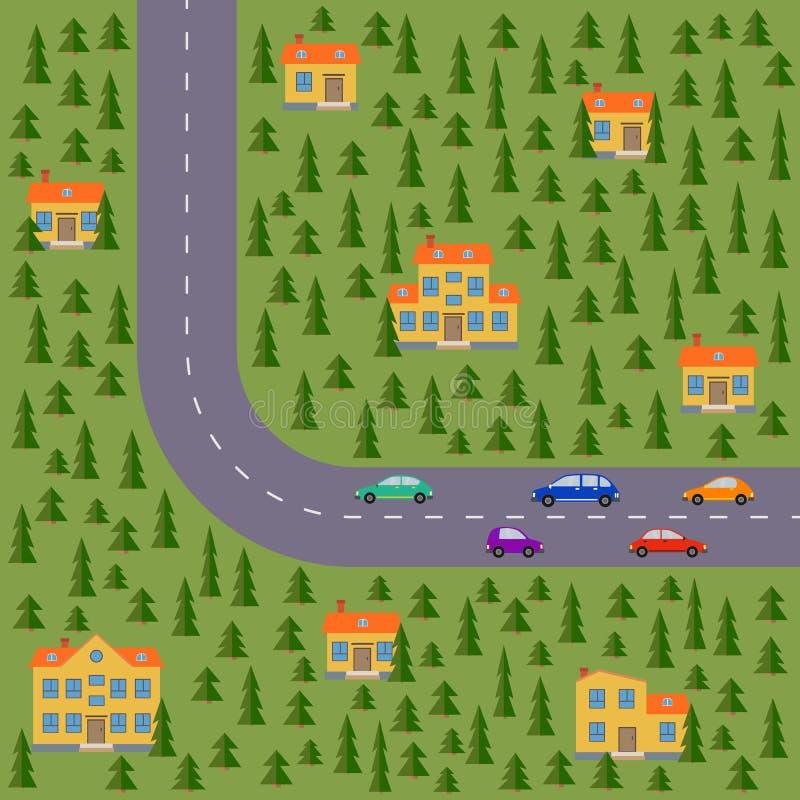Plan del pueblo Ajardine con el camino, la madera de pino, los coches y las casas ilustración del vector