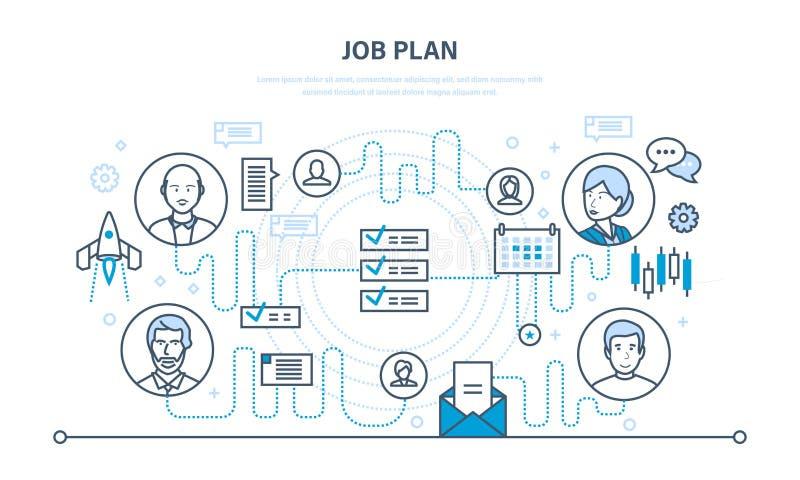 Plan del trabajo, gestión de tiempo, organización, planeamiento, comunicación, planificador de eventos libre illustration