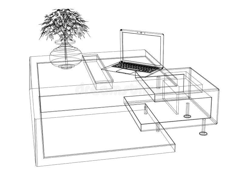 Plan der Moder-Computer-Tabelle 3D - lokalisiert lizenzfreie abbildung