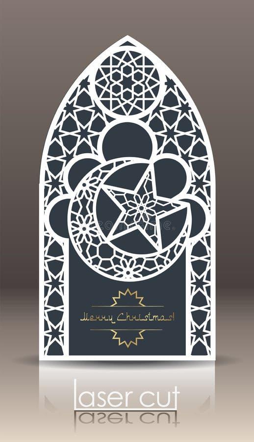 Plan der Postkarte 3d mit islamischem orientalischem Muster für Laser-Ausschnittpapier Indisches Erbe, Arabeske, persisches Motiv lizenzfreie abbildung
