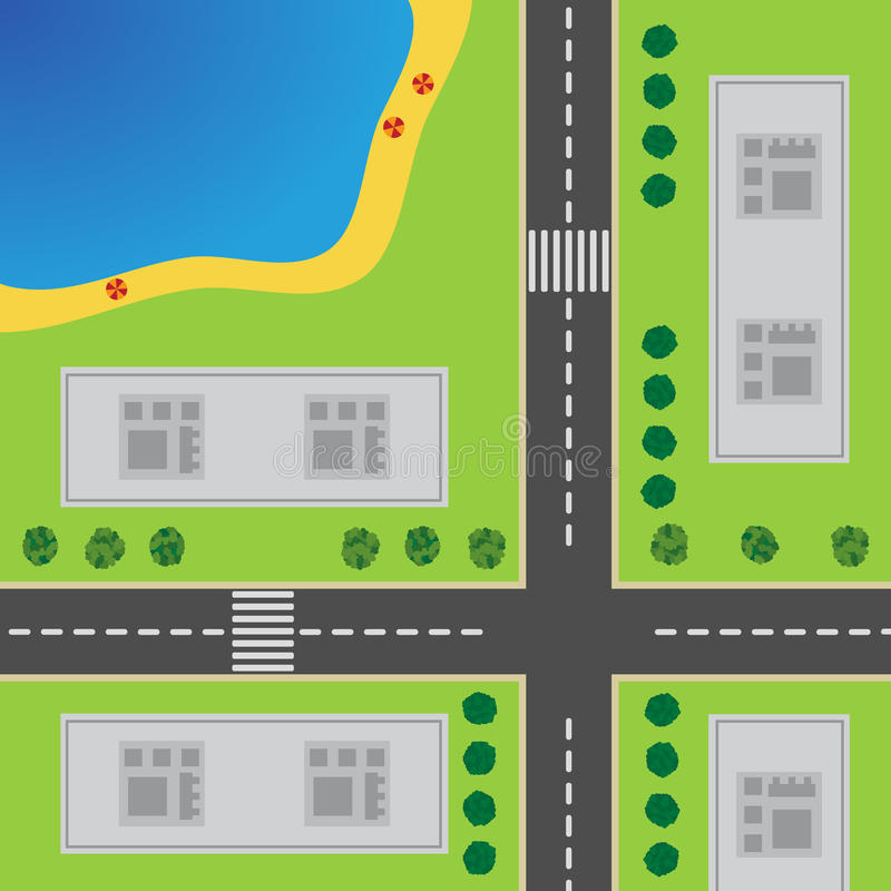 Plan der Stadt Draufsicht der Stadt stock abbildung