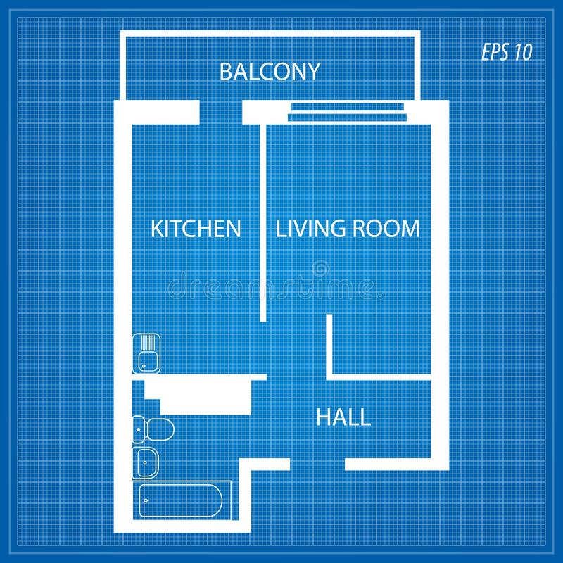 Plan der Wohnung auf blauem Hintergrund lizenzfreie abbildung