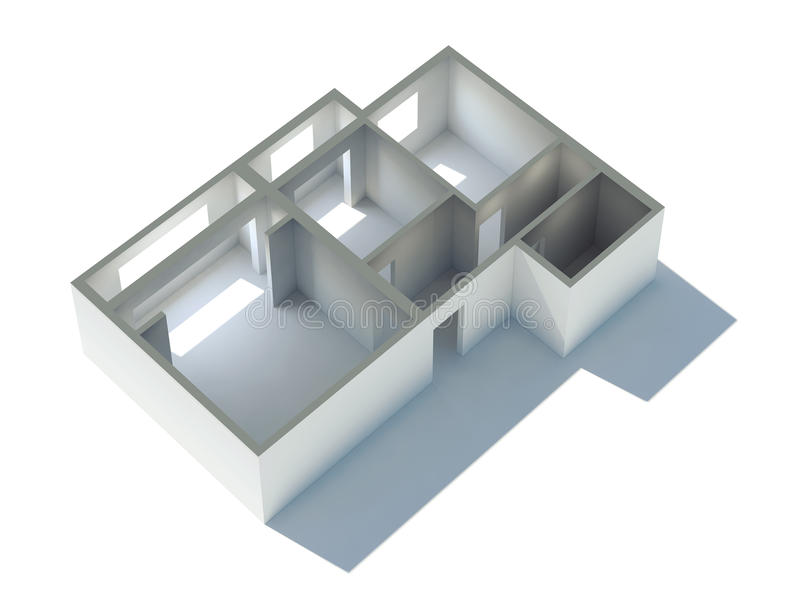 Plan der Wohnungs-3d lizenzfreie abbildung