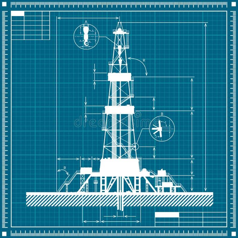 Plan des Ölplattformschattenbildes vektor abbildung