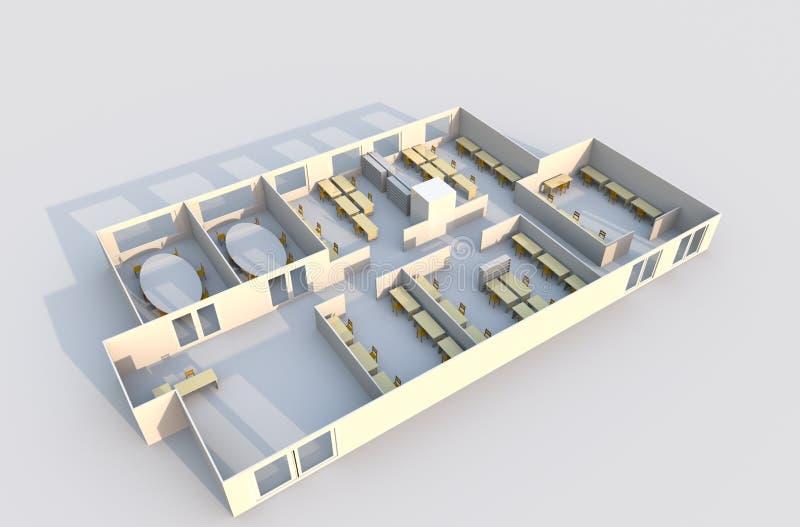 Plan des Büro-3D lizenzfreie abbildung