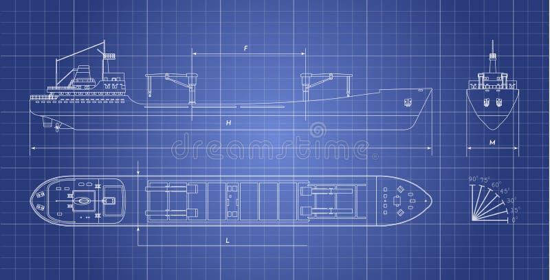 Plan des Frachtschiffs auf einem weißen Hintergrund Spitzen-, Seiten- und Vorderansicht Containertransport stock abbildung