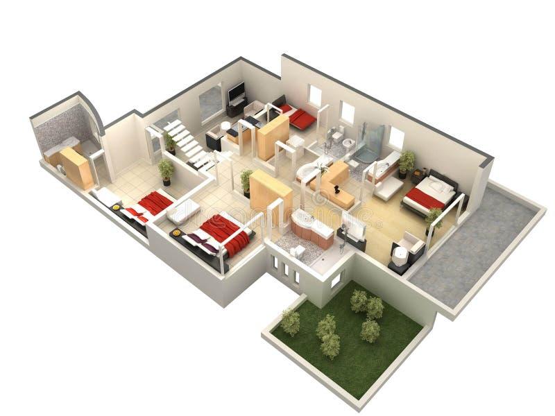 Plan des Fußbodens 3D vektor abbildung