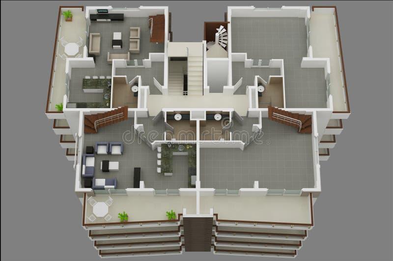 Plan des Fußbodens 3d stock abbildung