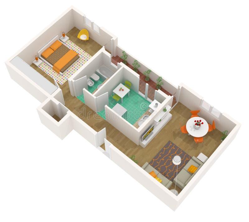 Plan des Fußbodens 3d - Wohnung lizenzfreie abbildung