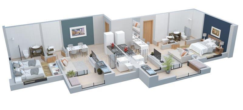 Plan des Fußbodens 3D lizenzfreie abbildung