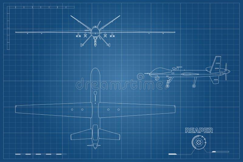 Plan des Militärbrummens in der Entwurfsart Spitzen-, vordere und Seitenansicht Armeeflugzeuge für Intelligenz und Angriff vektor abbildung