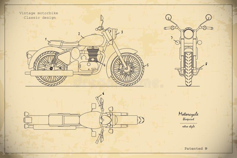 Plan des Retro- klassischen Motorrades in der Entwurfsart Seiten-, Spitzen- und Vorderansicht Industrielle Zeichnung des Motorrad lizenzfreie abbildung