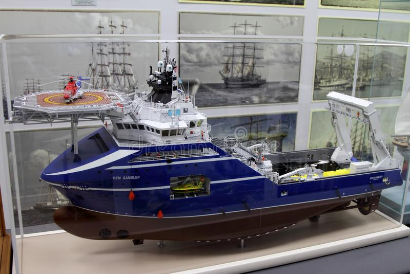 Plan des Unterstützungsschiffs Rem Gambler im Museum des Automobilsports von Sochi lizenzfreie stockfotos