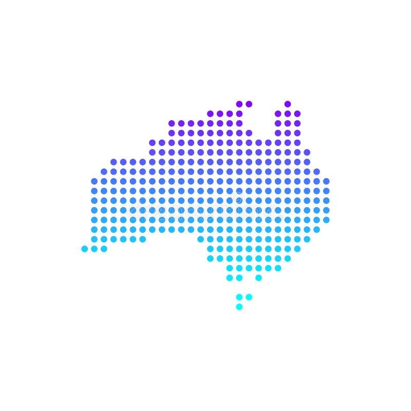 Plan design Australien för färgrik prickig världskartavektor royaltyfri illustrationer