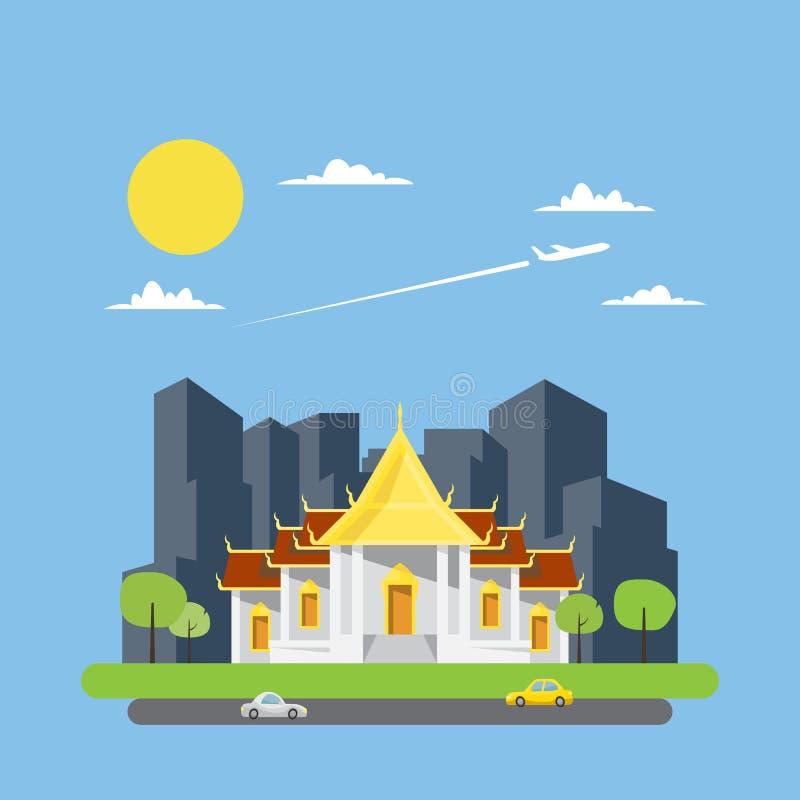 Plan design av den thailändska templet royaltyfri illustrationer