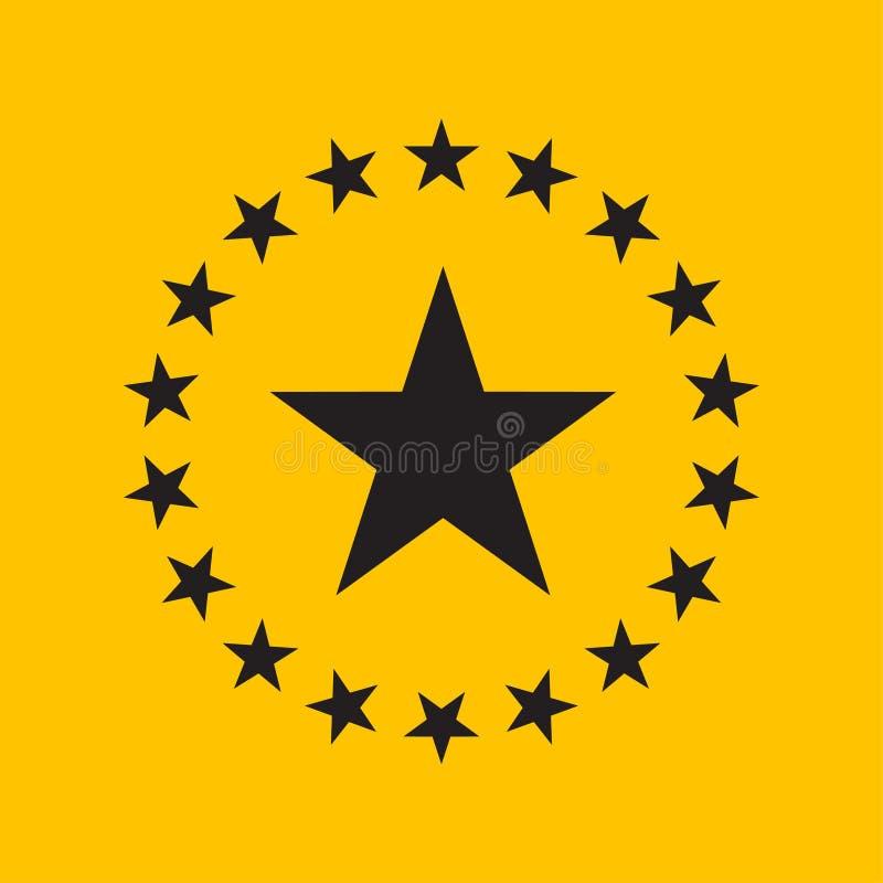 Plan design för cirkelstjärna Stjärnasymbol, logovektorillustration stock illustrationer
