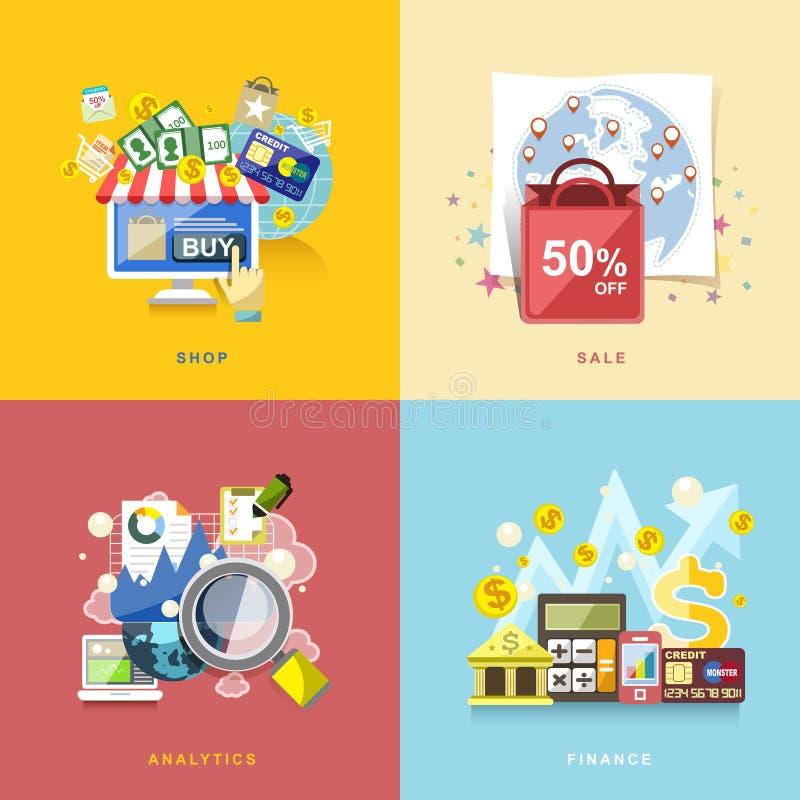 Plan design för e-komrets, online-shopping, försäljning, finans som är anal stock illustrationer