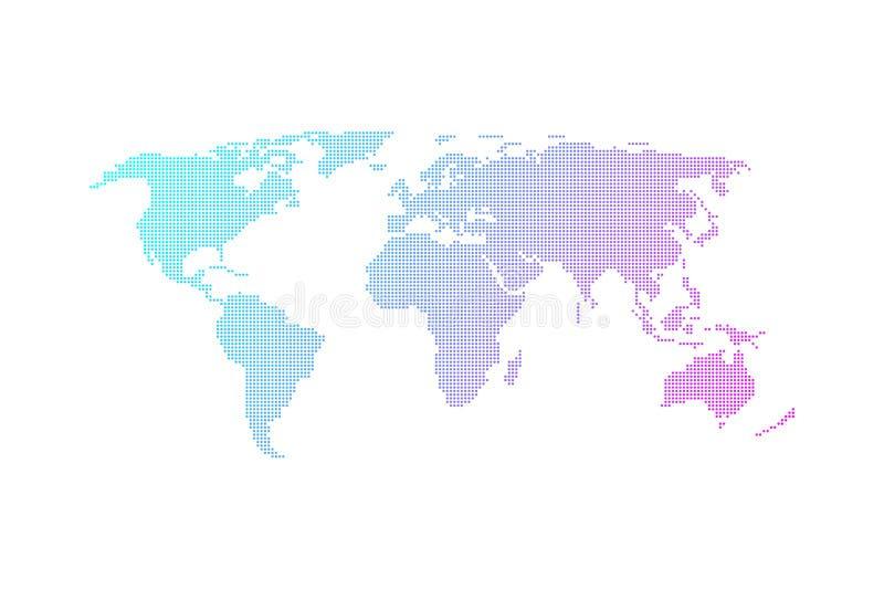 Plan design för färgrik prickig världskartavektor stock illustrationer