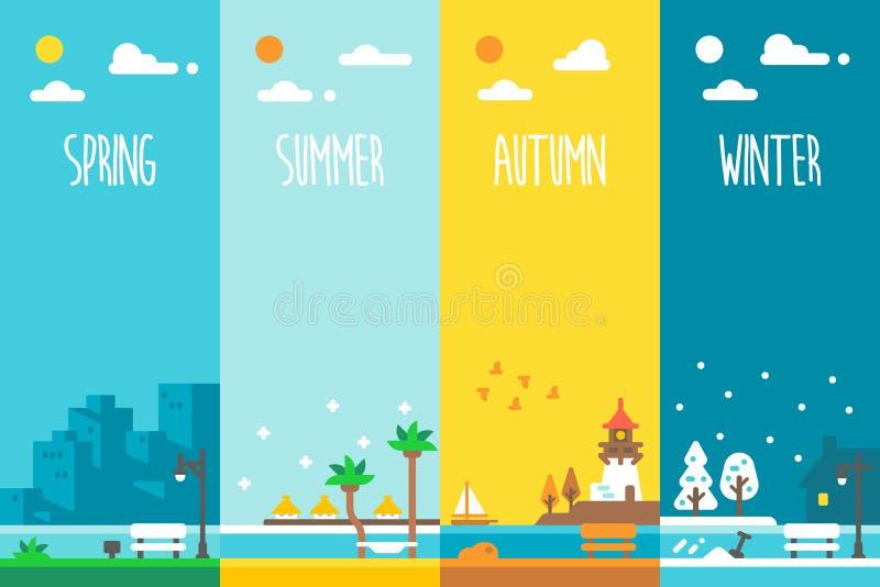 Plan design ferie för 4 säsonger fotografering för bildbyråer