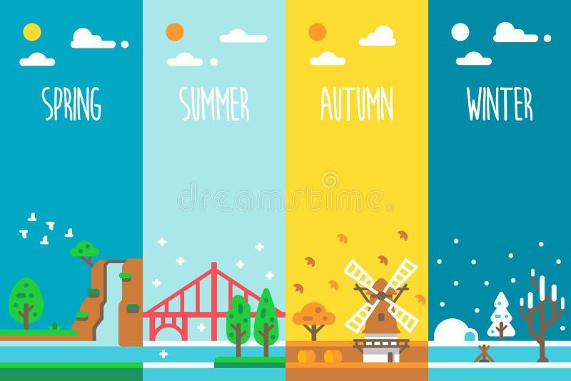 Plan design ferie för 4 säsonger royaltyfri foto