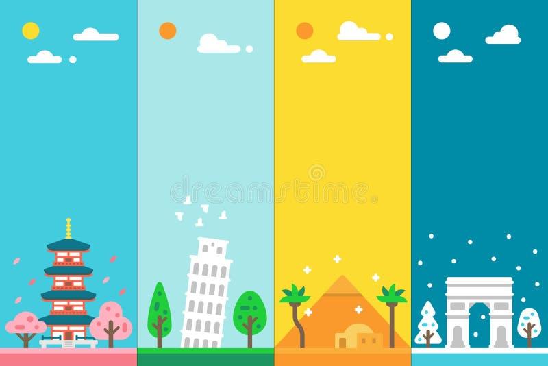 Plan design 4 säsonggränsmärken royaltyfria foton