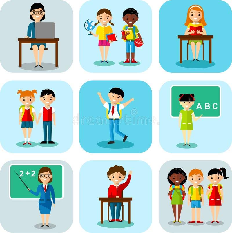 Plan design som lär begreppet för utbildning med skolbarn, lärare vektor illustrationer