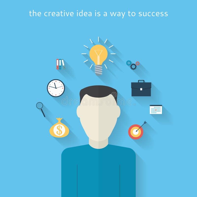 Plan designbakgrund med idérik idé stock illustrationer