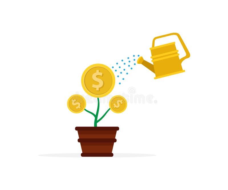 plan designillustration av att bevattna en växt i en kruka som växande pengar eller mynt, illustration av en investering stock illustrationer
