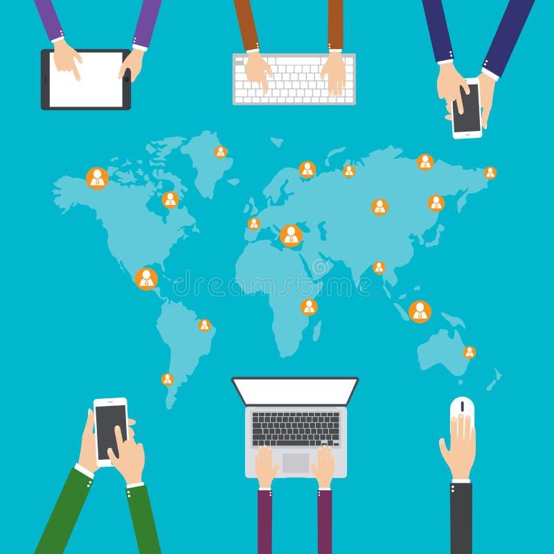 Plan designillustration, internetshopping, E-kommers sociala massmedianätverk och kommunikationsbegrepp stock illustrationer