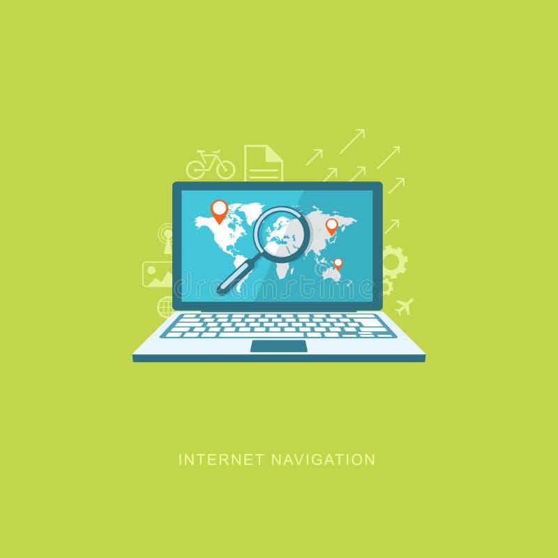 Plan designillustration med symboler Internetnavigering vektor illustrationer