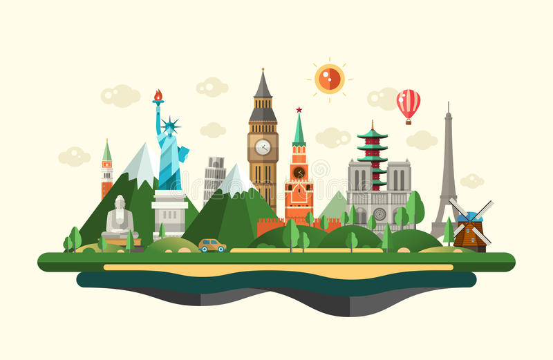 Plan designsammansättningsillustration med berömda gränsmärken för värld stock illustrationer