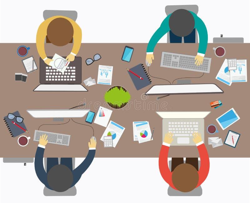 Plan designstil av affärsmötet, kontorsarbetare stock illustrationer