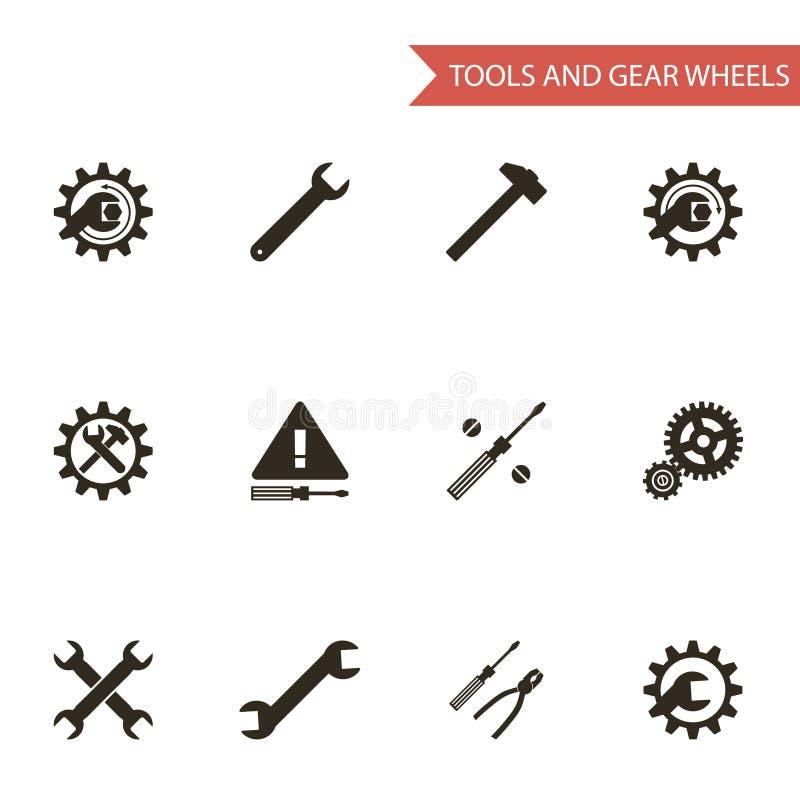 Plan designstilsvart bearbetar symboler för kugghjulhjul vektor illustrationer